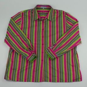 Foxcroft Classic Fit Multicolored Stripe Shirt